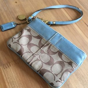 Coach Fabric Wristlet Vintage Brass